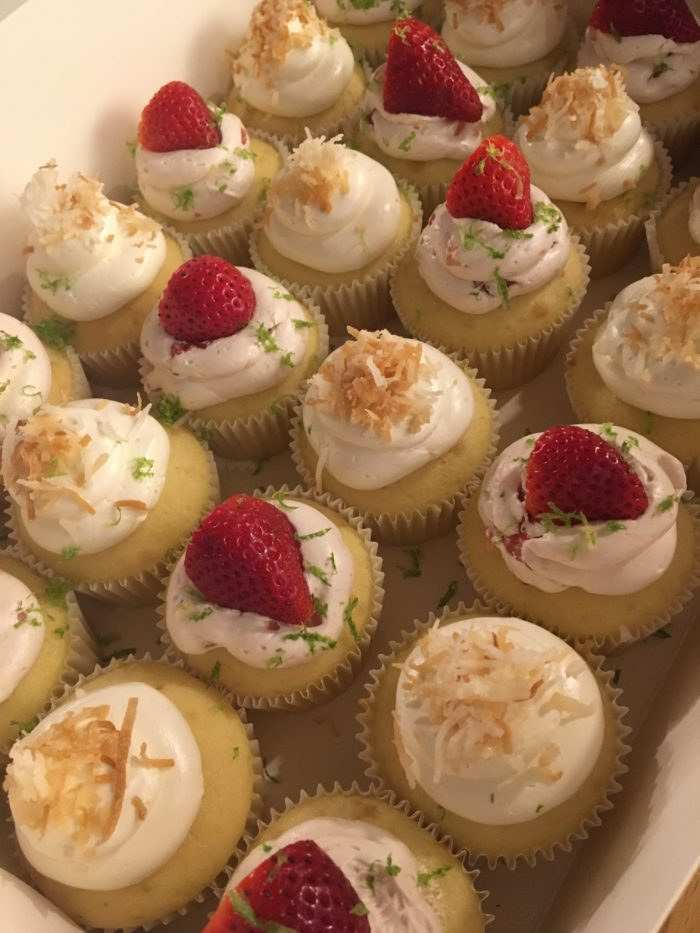 Toasted Coconut with Vanilla Cake and Strawberry Lime Vanilla Cupcake