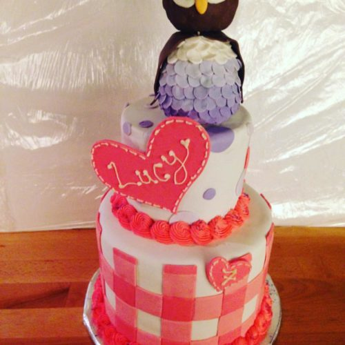 Owl Theme Girl's Birthday Cake by Angela Welch