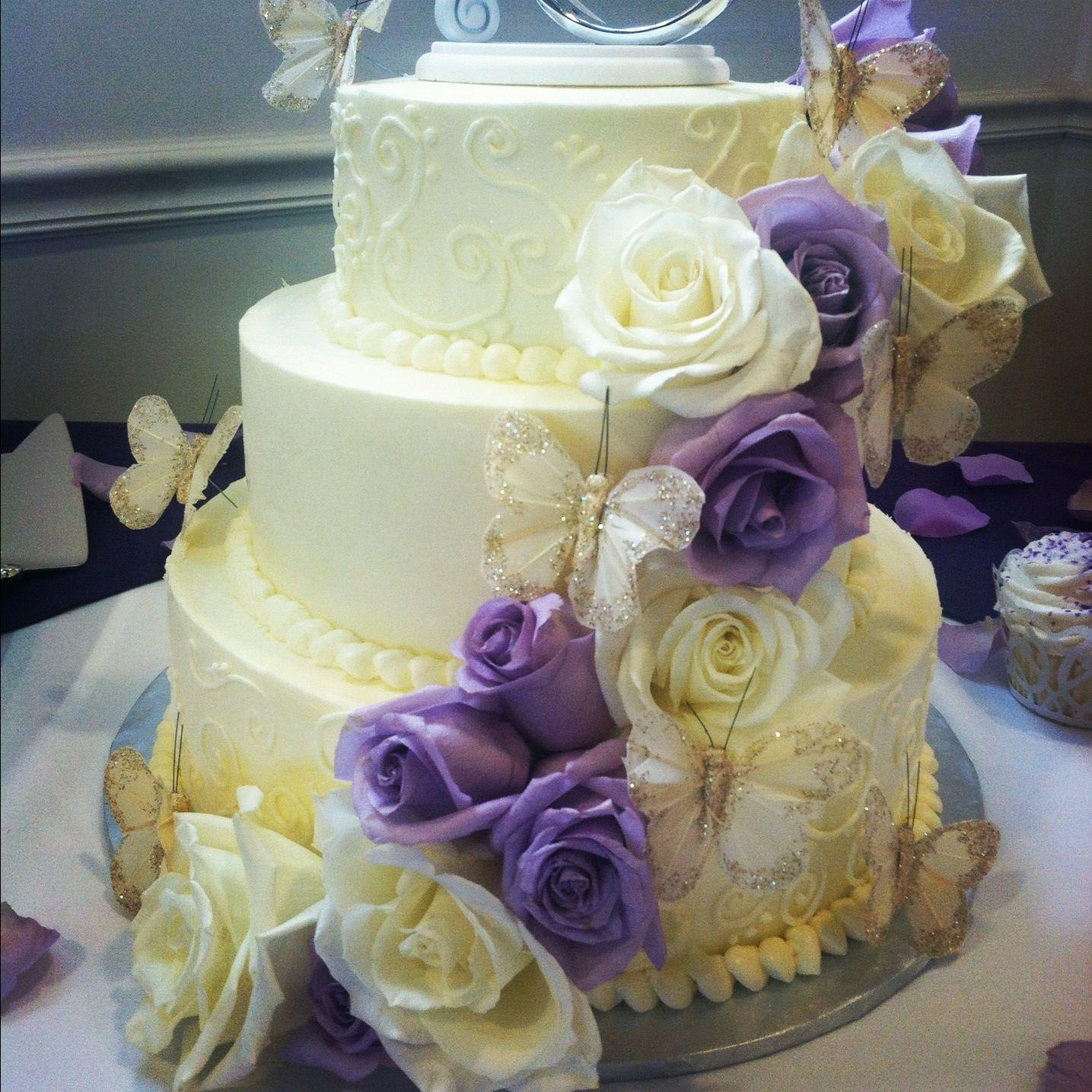 Purple and White Wedding Cake by Angela Welch
