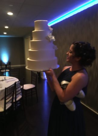 Angela Welch with Wedding Cake