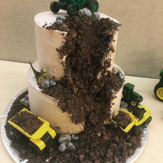 Boys Birthday Cake with Trucks and Dirt by Angela Welch